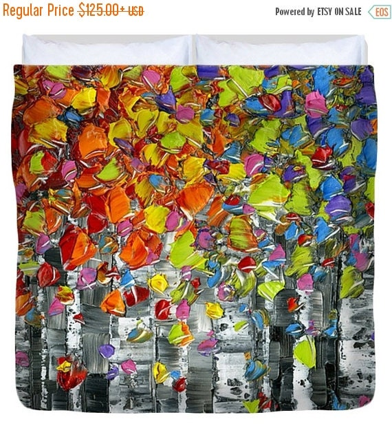 duvet covers full twin queen king birch trees art abstract cool funky colorful bedroom decor