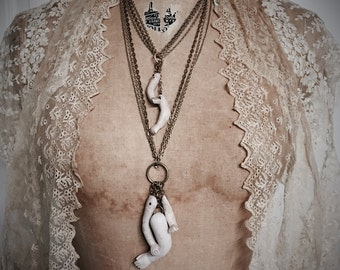 Victorian Gypsy Layered Chain Antique Doll Parts Necklace by Louise Black