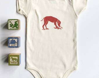 Dog with Stick Organic Cotton Short Sleeve Onesie_ made in Seattle-Available in long sleeve-Dog Lover gift