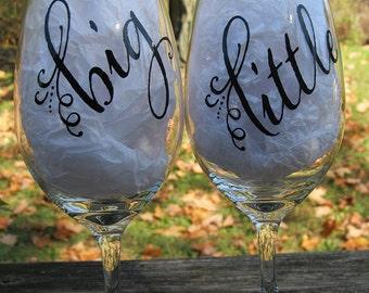 Big/Little Wine Glass Set for sorority sisters