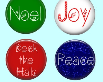 Christmas Words Cabochons - Choice of 4 Sayings and Choice of sizes - 16mm, 18mm, 20mm, 25mm and 30mm Round