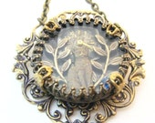 Cat Under Glass, Steampunk Necklace, Steampunk Shadowbox, Victorian, Cat, One of a Kind