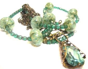 Sea Grass ... Victorian  Lampwork One of a Kind Necklace