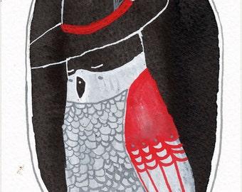 Bird Portrait with Hat / watercolour gouache original