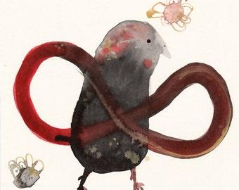 Infinity Bird Original / ink drawing