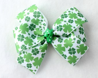 A St. Patrick's Day Clover Hair Bow with Alligator Clip