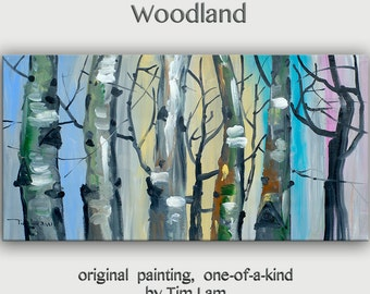 Modern art Tree painting Original abstract oil painting Autumn forest turqoise sky Ready to hang by tim Lam 48x24