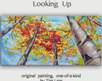 Art OIl painting Original modern landscape skyline bright blue sky, golden tree, looking up fall forest 48 X 24