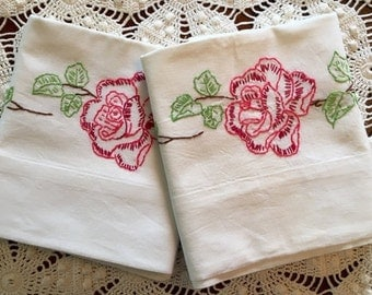 HOLIDAY SALE - Vintage Embroidery Pillow Cases - Rose Flower Garland Pillowcases, Pair - Green Red Blue Pink - New Unused - Crisp Cotton Mus