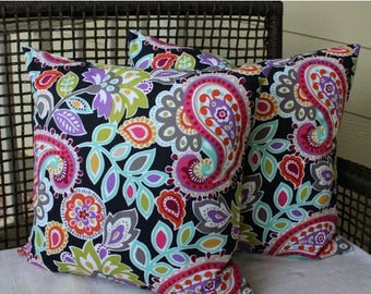 BIG SALE - Pair 20 Inch Pillow Covers - Fun Bright Paisley Print on Black - Very Colorful - Decorator Pillows  - MultiColor