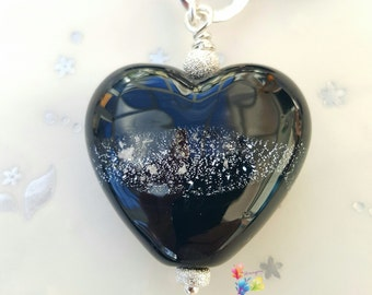 Memorial Lampwork Beads, Heart Bead, Pendant, Ashes, Pet, Loved One, Glass Memorial Bead, Necklace