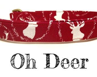 "Maroon Dark Red White Deer Buck Dog Collar - Organic Cotton Dog Collar - All Antique Brass Hardware - ""Oh Deer"""
