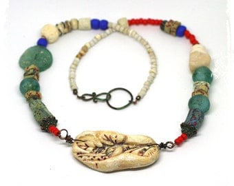 Ancient Roman Glass Necklace, Raw Stone Necklace, Art Bead Necklace, Boho Short Necklace, Rustic Mixed Media Necklace, OOAK Art to Wear