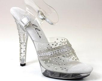 Rhinestone Crystal Trim Competition Shoes / Bikini Figure Competition Shoes