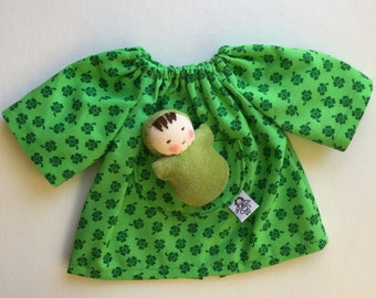 green Shamrock, doll dress, Waldorf Doll clothes, Germandolls, for 12 inch  dolls, St Patricks day, with pocket baby