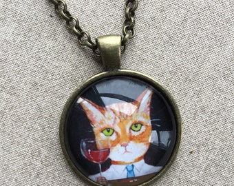 Orange Tiger Cat with Red Wine Necklace -  Cat Jewelry - Orange Tabby Necklace - Kitty Necklace - Funny Cat Pendant  - Gift for Cat Lover