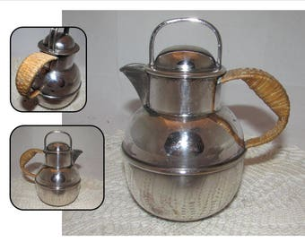 Vintage Silver Plated Guernsey Creamer or Cream Pitcher by EG Webster & Sons, NY, Rattan or Wicker Wrapped handle