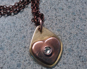 Copper and Brass Heart Necklace with Clear Swarovski Crystal