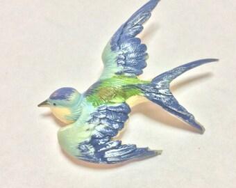 Vintage Blue Swallow Bird Occupied Japan Plastic Molded Brooch