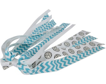 Aqua Blue Chevron Volleyball Ponytail Streamer for Team Girls Gift - customize Colors