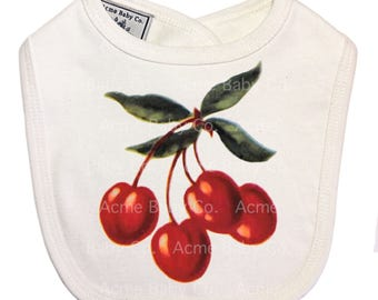 Baby Bib, Baby Gift, Organic Bib, velcro back, Baby Accessory, Baby Cherries, Shower Gift, Vintage Fruit, Cherry Bib, Layette