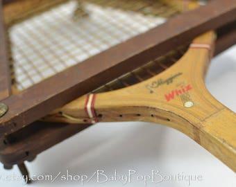 Vintage J.C.Higgins WHIZ Wooden Tennis Racket
