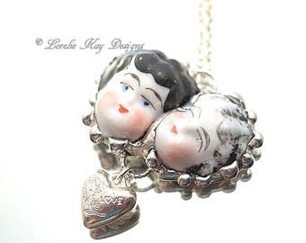 Best Friends Mother & Daughter Necklace Two Antique China Doll Heads One-of-a-Kind Lorelie Kay Soldered Art