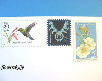 Wildflower - Tropical Bird - Turquoise Blue Postage Stamps, Mail 10 Cards RSVPs or Party Invitations, 1 oz 49 cent nature postage assortment