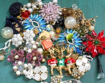 Destash Jewelry Lot - Pot Metal, Faux Pearl, Rhinestone, Swarovski Crystal, Lucite, Enamel, Soap Bubbles, Glass Bead, Clip-On, Screw Back