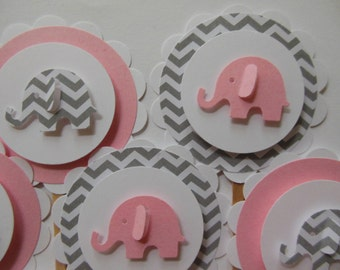 Elephant Cupcake Toppers - Pink and Gray Chevron - Girl Baby Shower Decorations - Girl Birthday Parties - Set of 12