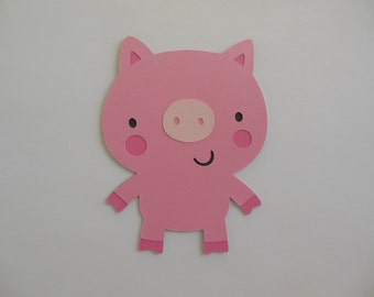 Farm Animal Cutouts - Pig - Birthday Party Decoration - Baby Shower Decorations - Set of 1