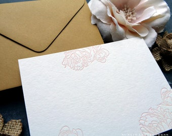 Flower Note Cards, Note Card, Thank You Card, Floral Card, Blank Note Cards, Stationery Set, Any Occasion, Card for Her, Letterpress Notes