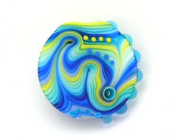 Michal S- Glass Art Blue and yellow Lampwork lentil focal bead. Ready to ship
