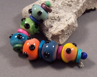Handmade Lampwork Beads by Monaslampwork - Bazinga Beads - Enamels Colors Dots Lampwork Glass Beads Boho Organic
