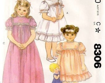 McCall's 8306 Embroidered Yoke BECKY SUMMERS Pullover Dress and Slip Size 6X