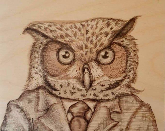Horned Owl - Original drawing by Mr Hooper of Nashville Tennessee