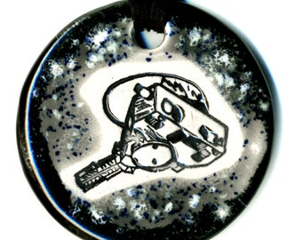 New Horizons Spacecraft Ceramic Necklace in Black and Gray