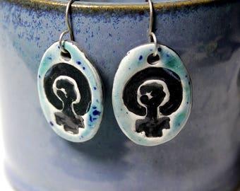 Feminist Symbol Ceramic Earrings in Blue