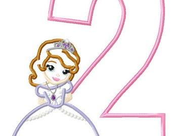 Birthday 2 Princess Sophi Machine Applique Embroidery Pattern Design 5x7 6x10 7x11 INSTANT DOWNLOAD