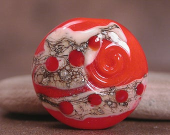 Lampwork Glass Focal Bead Bright Orange Divine Spark Designs SRA