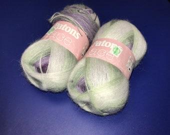 3oz Patons Lace (33315 - Sachet) green, purple, white