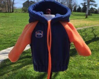 18 inch doll clothes fun DENVER BRONCOS THEME hooded zippered jacket for your favorite doll