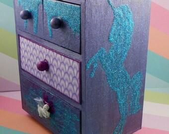 Unicorn Glitter Purple and Blue Rainbow Stash Jewelry Box