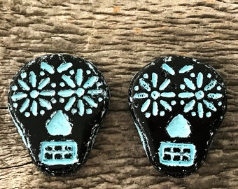 Czech Glass Sugar Skull Beads, Opaque Black with Turquoise Wash, 20X17mm, 2 Qty.