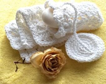 Eco Friendly Bath/Spa Set - Cotton Facecloth, Cotton Soap Saver Bag, 3 Eco Friendly Face Scrubbies