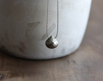 Pyrite necklace - small onion cut pyrite briolette on grey silk cord - floating gemstone necklace - pyrite pendant