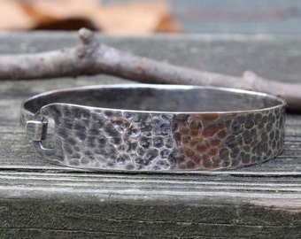 Hook and notch hammered sterling silver bangle bracelet
