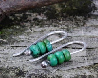20% OFF TODAY Mojave green turquoise sterling silver dangle earrings