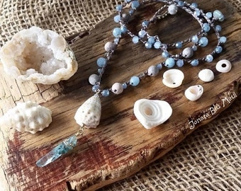Beach Necklace, Summer Necklace, Crystal Point Necklace, Quartz Crystal, Beach Style, Mermaid Necklace, Hawaii Jewelry, Cone Shell Necklace,