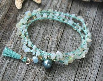 Wrap Bracelet, Crochet Wrap Bracelet, Stacking Bracelet, Opal Bracelet, Opal Jewelry, Made in Hawaii, Beachy Boho, Summer Style, Aqua